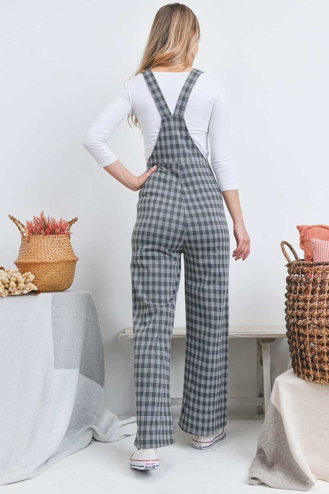 Riah Fashion Checkered Overall - Front Full Image