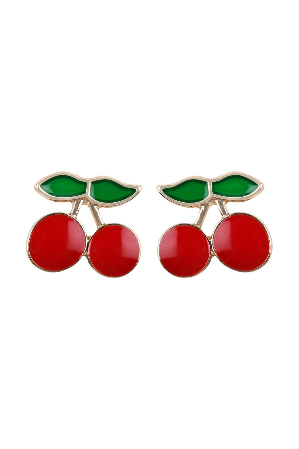 Riah Fashion Cherry Stud Earrings - Front Cropped Image