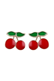 Riah Fashion Cherry Stud Earrings - Front cropped
