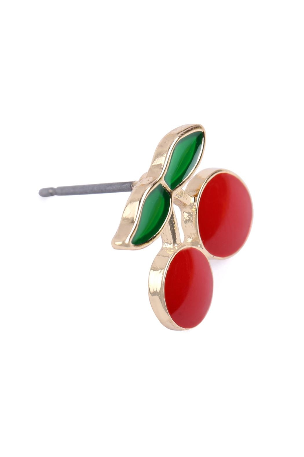 Riah Fashion Cherry Stud Earrings - Front Full Image