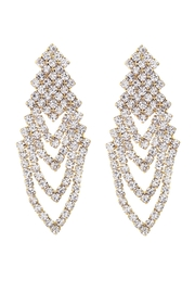 Riah Fashion Chevron Rhinestone Earrings - Product Mini Image