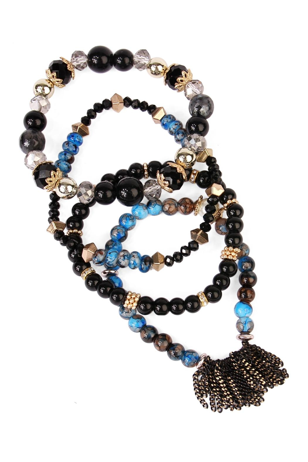 Riah Fashion Chic Beaded Bracelet Set - Front Full Image