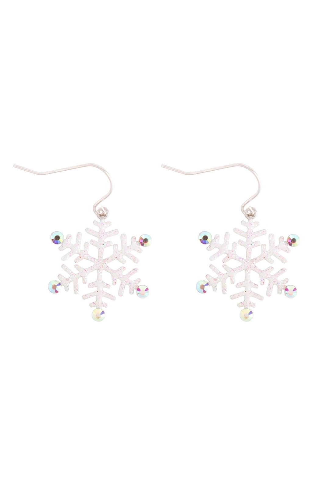 Riah Fashion Christmas-Glitter-Snowflake-Drop-Earrings - Front Cropped Image