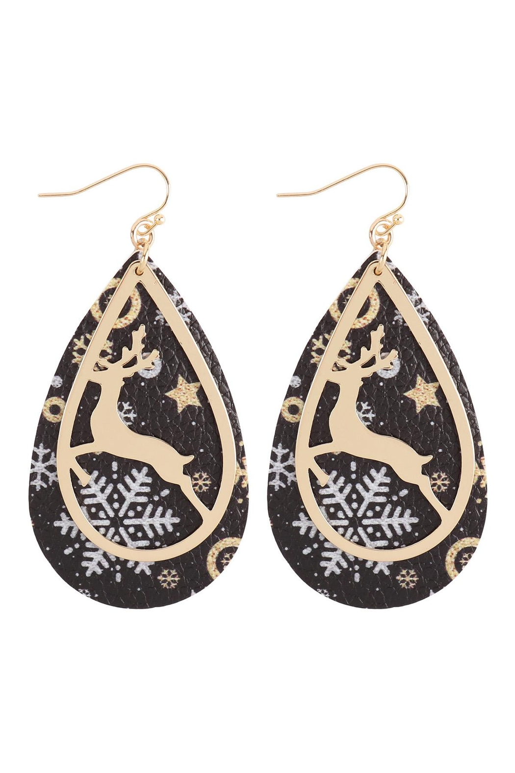 Riah Fashion Christmas-Reindeer-Metal-Leather-Layered-Fish-Hook-Earrings - Front Cropped Image