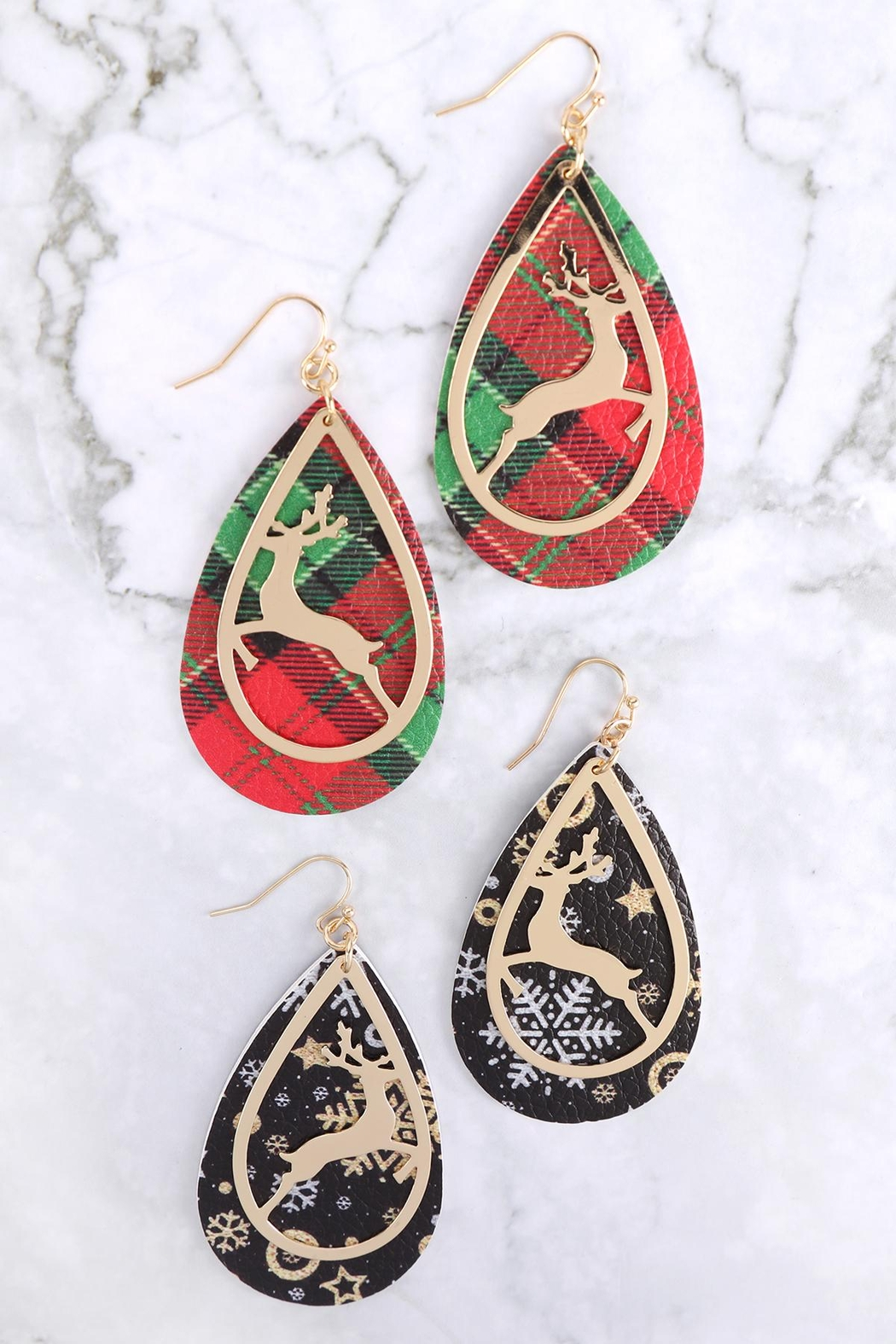 Riah Fashion Christmas-Reindeer-Metal-Leather-Layered-Fish-Hook-Earrings - Front Full Image