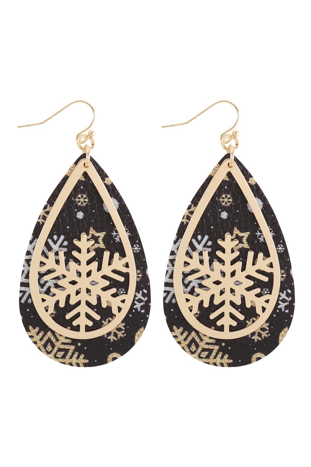 Riah Fashion Christmas-Snowflake-Metal-Leather-Layered-Fish-Hook-Earrings - Front Cropped Image