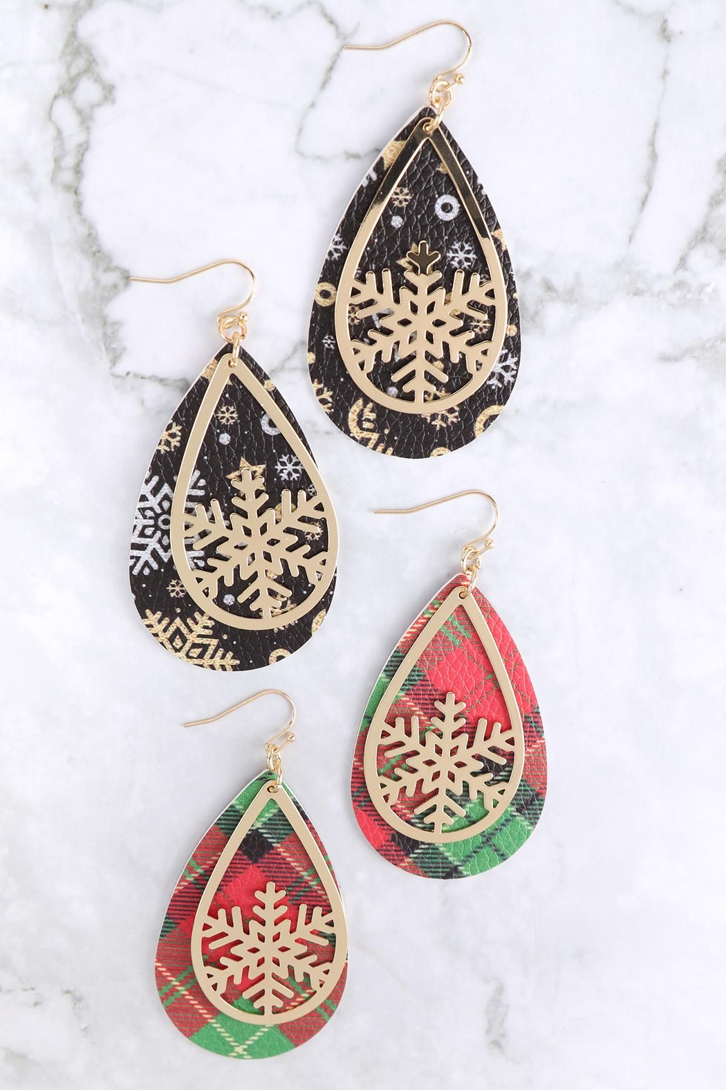 Riah Fashion Christmas-Snowflake-Metal-Leather-Layered-Fish-Hook-Earrings - Front Full Image