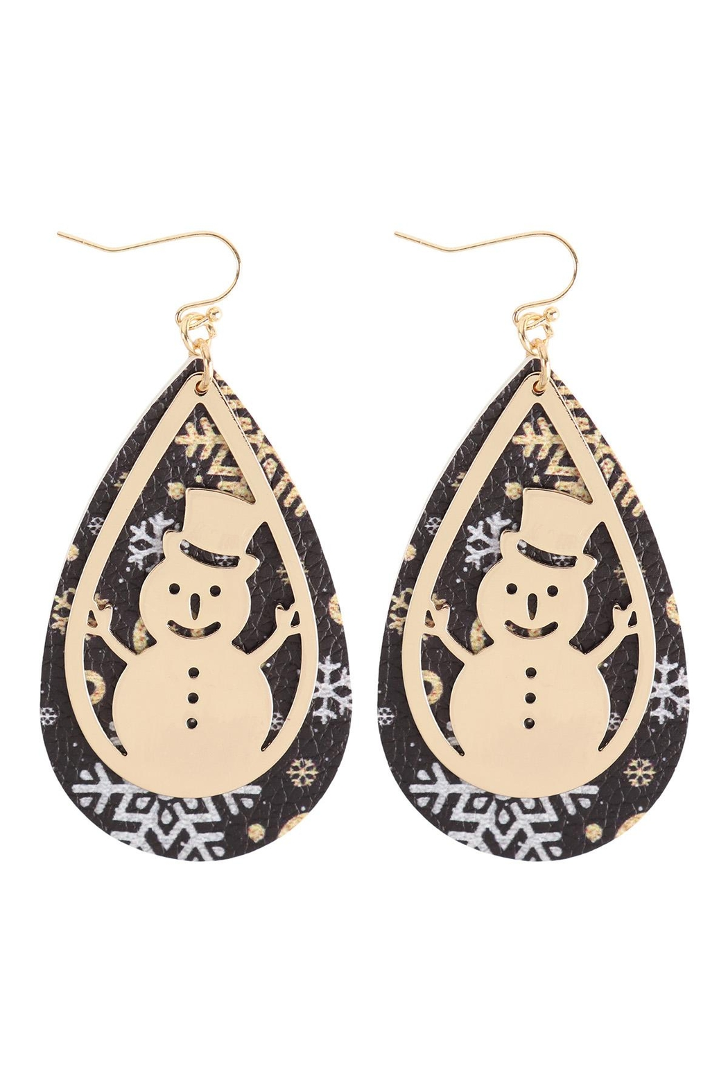 Riah Fashion Christmas-Snowman-Metal-Leather-Layered-Fish-Hook-Earrings - Front Cropped Image
