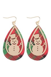 Riah Fashion Christmas-Snowman-Metal-Leather-Layered-Fish-Hook-Earrings - Front cropped
