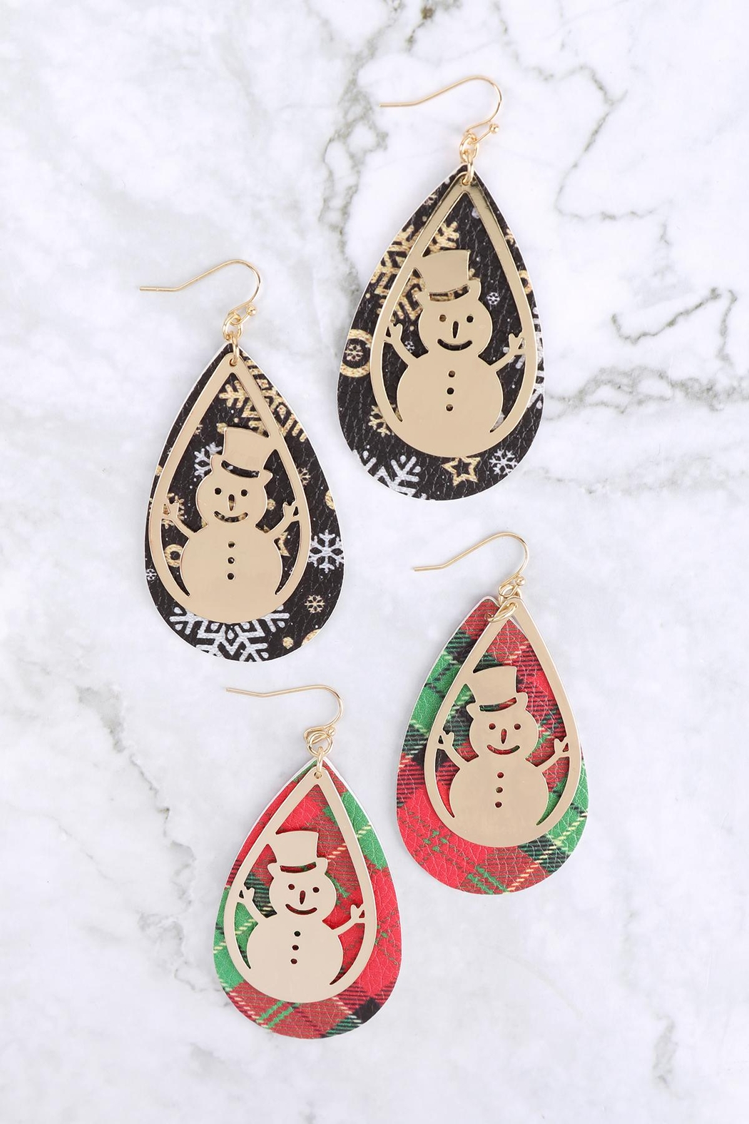 Riah Fashion Christmas-Snowman-Metal-Leather-Layered-Fish-Hook-Earrings - Front Full Image