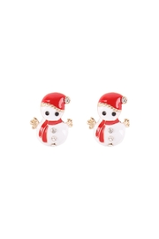 Riah Fashion Christmas-Snowman-Stud-Earrings - Front cropped