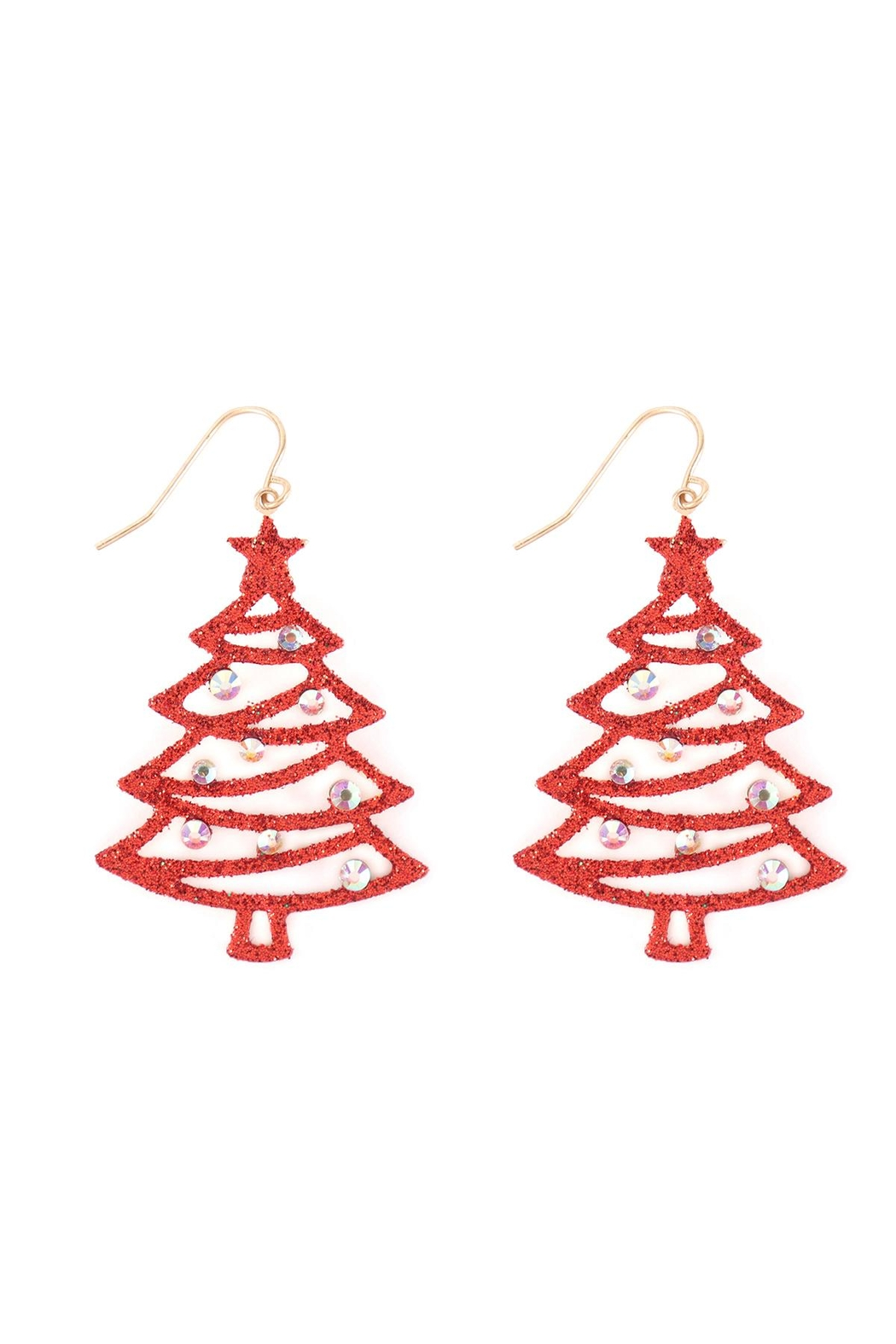Riah Fashion Christmas-Tree-Glitter-Drop-Earrings - Front Cropped Image