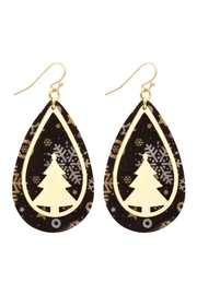 Riah Fashion Christmas-Tree-Metal-Leather-Layered-Fish-Hook-Earrings - Front cropped