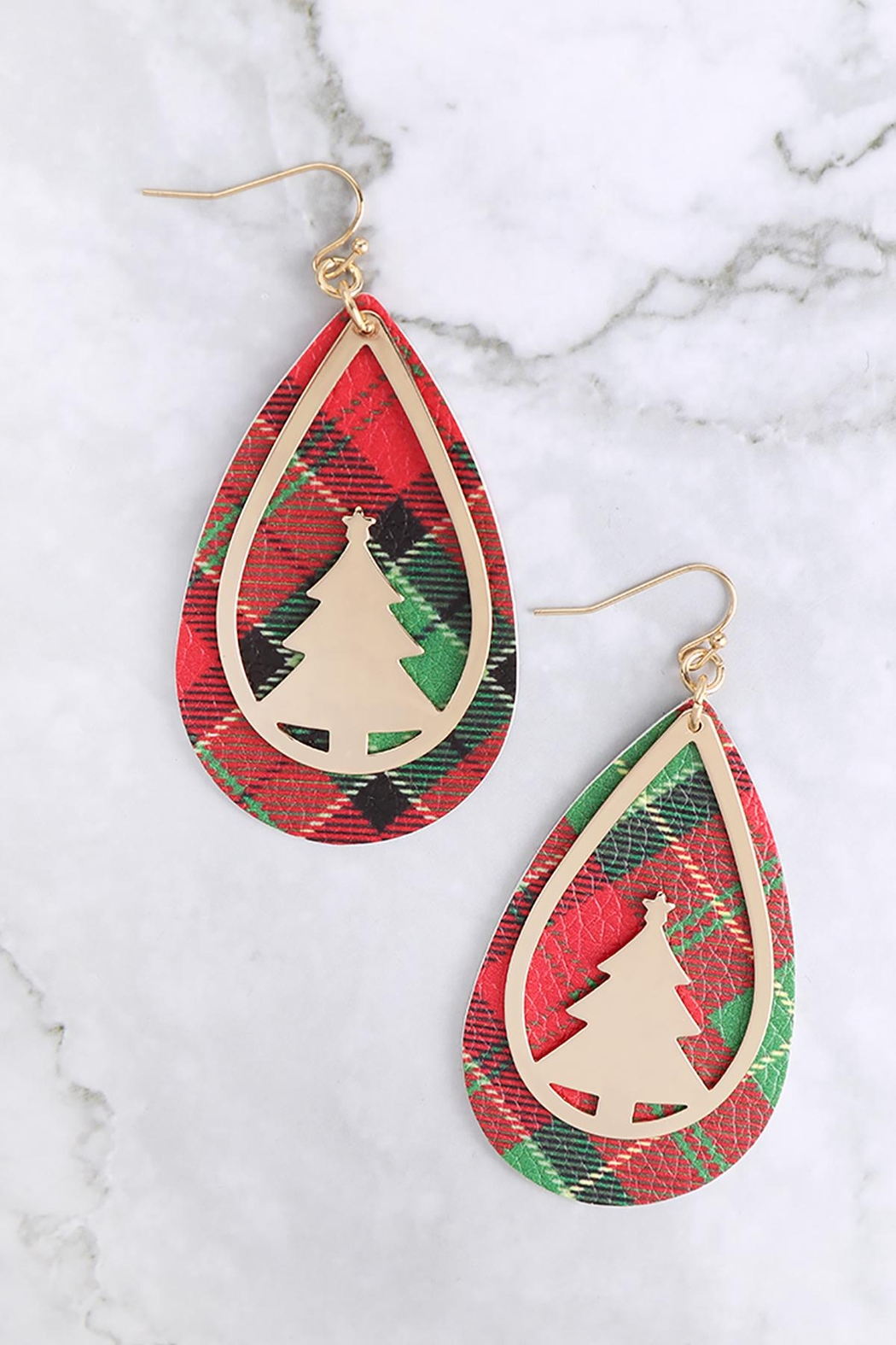 Riah Fashion Christmas-Tree-Metal-Leather-Layered-Fish-Hook-Earrings - Front Full Image