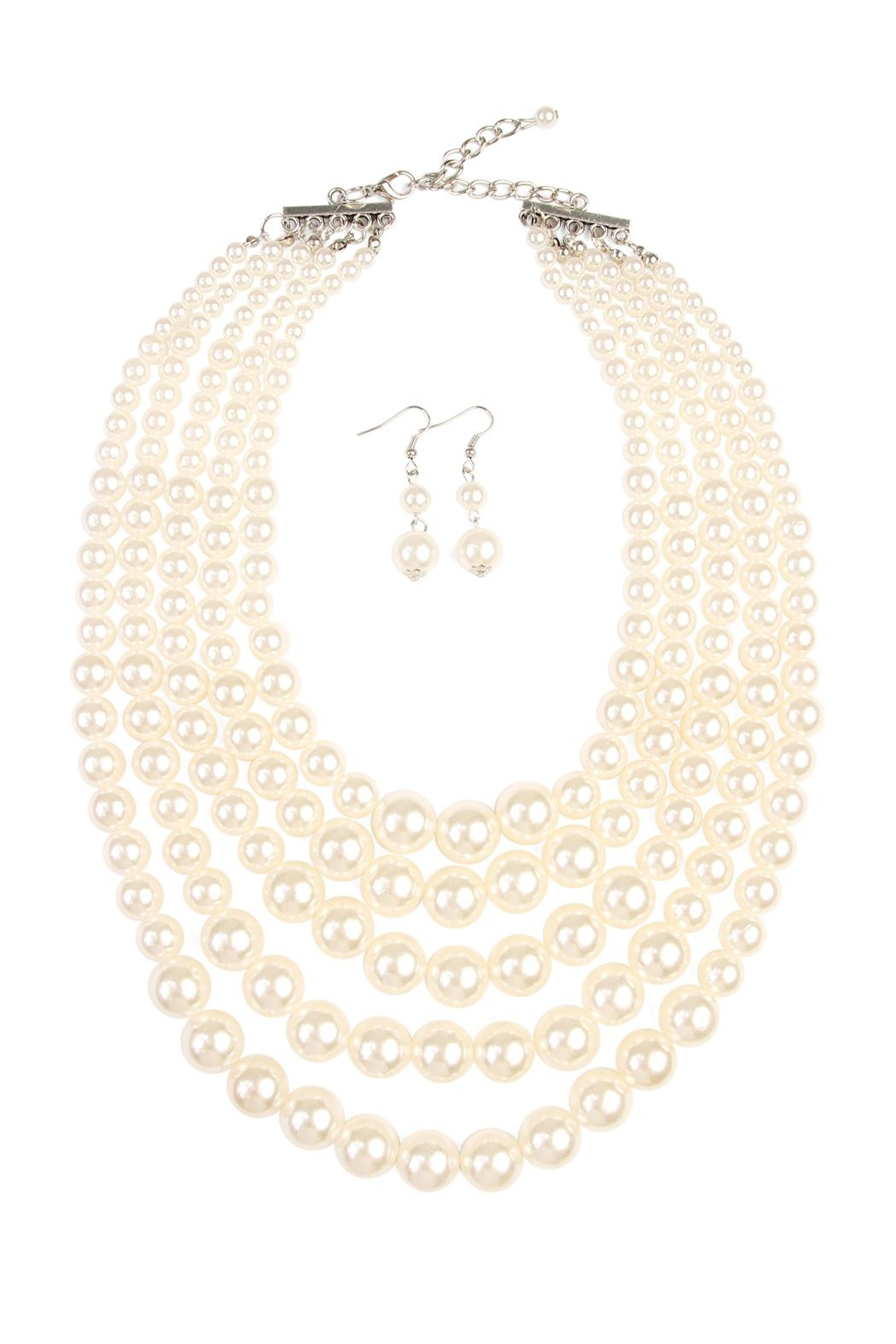 Riah Fashion Pearl Necklace & Earring Set - Main Image