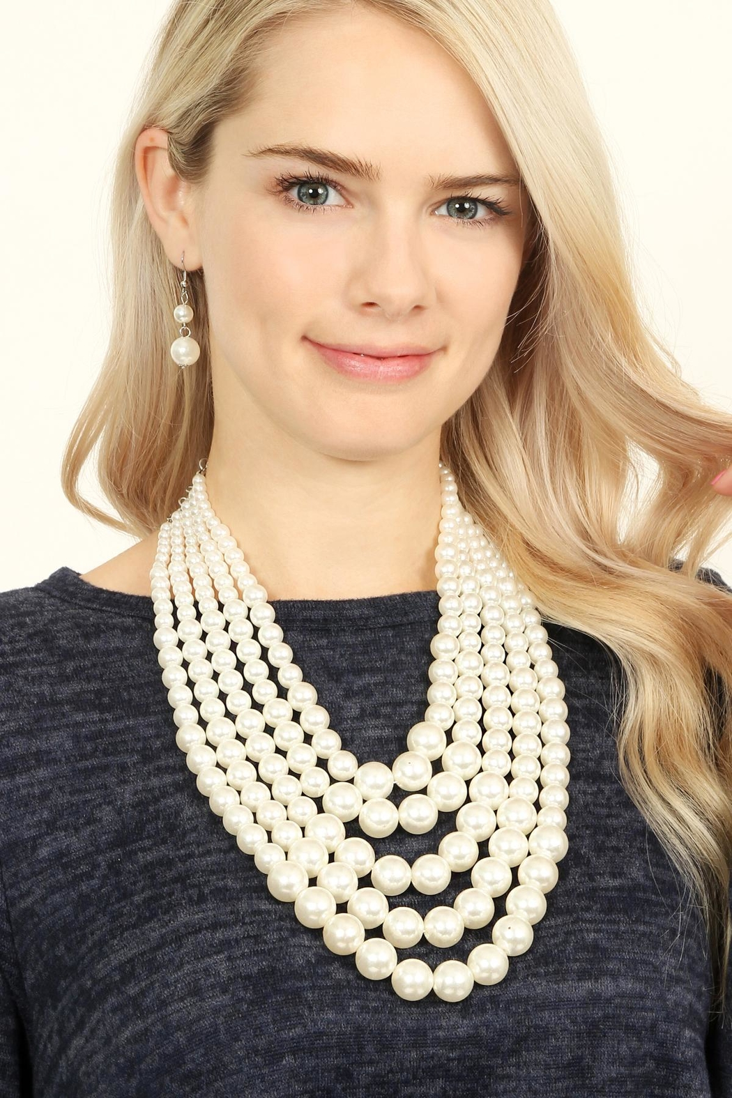 Riah Fashion Pearl Necklace & Earring Set - Front Full Image