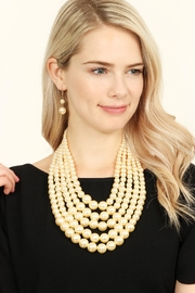 Riah Fashion Pearl Necklace & Earring Set - Front full body