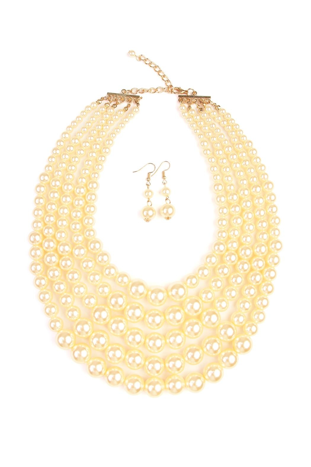 Riah Fashion Pearl Necklace & Earring Set - Front Cropped Image