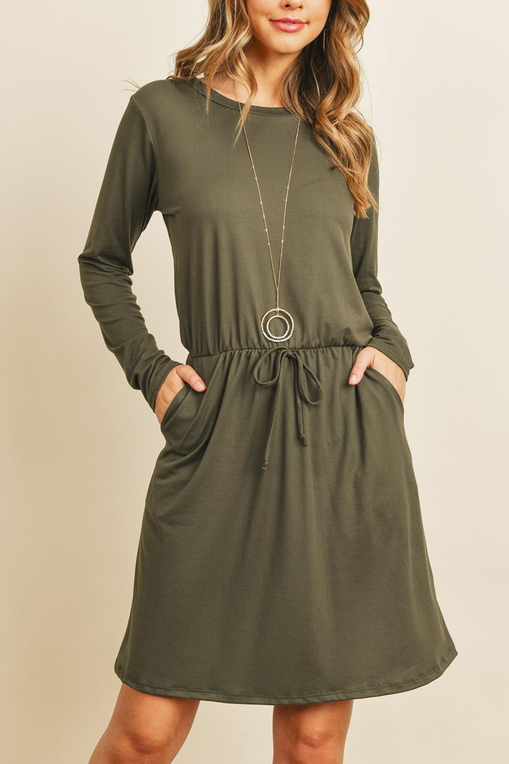 Riah Fashion Cinch-Waist-Ribbon-Detail-Long-Sleeves-Solid-Dress - Front Cropped Image