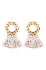 Riah Fashion Circle Chain Metal-Tassel-Post-Earrings - Product Mini Image