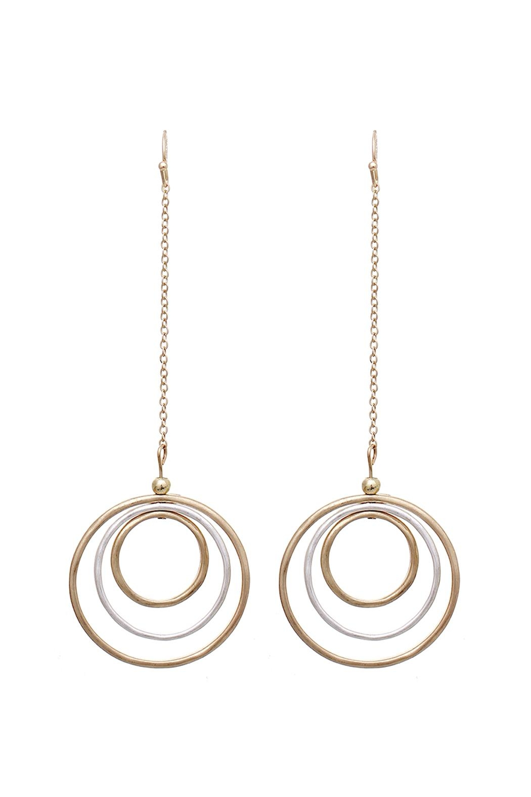 Riah Fashion Circle Drop Earrings - Front Cropped Image