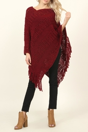 Riah Fashion Classic Fringe Poncho - Front cropped