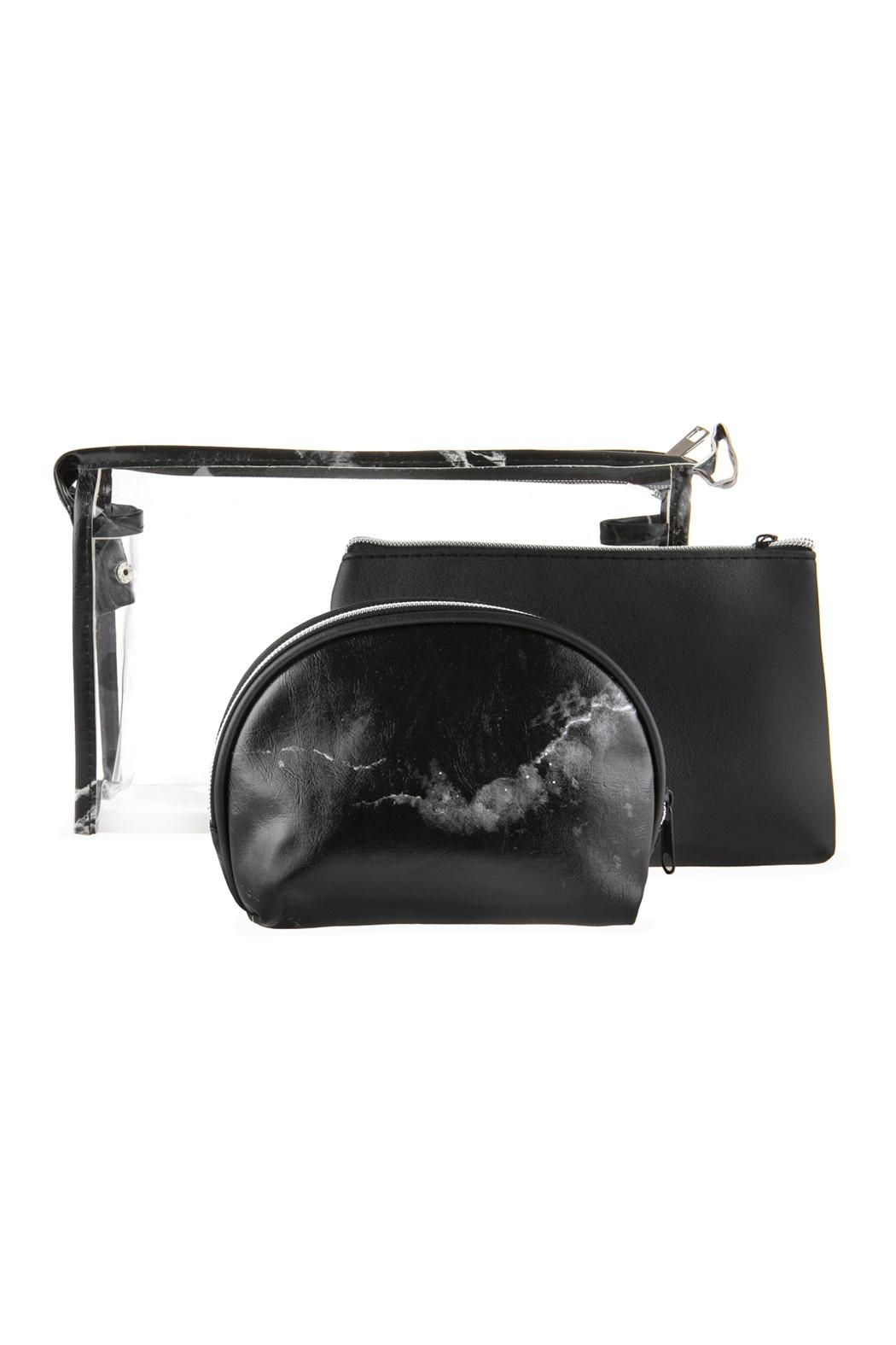 Riah Fashion Clear-Cosmetic-Bags With 2-Sets-Of-Leather-Pouches - Main Image