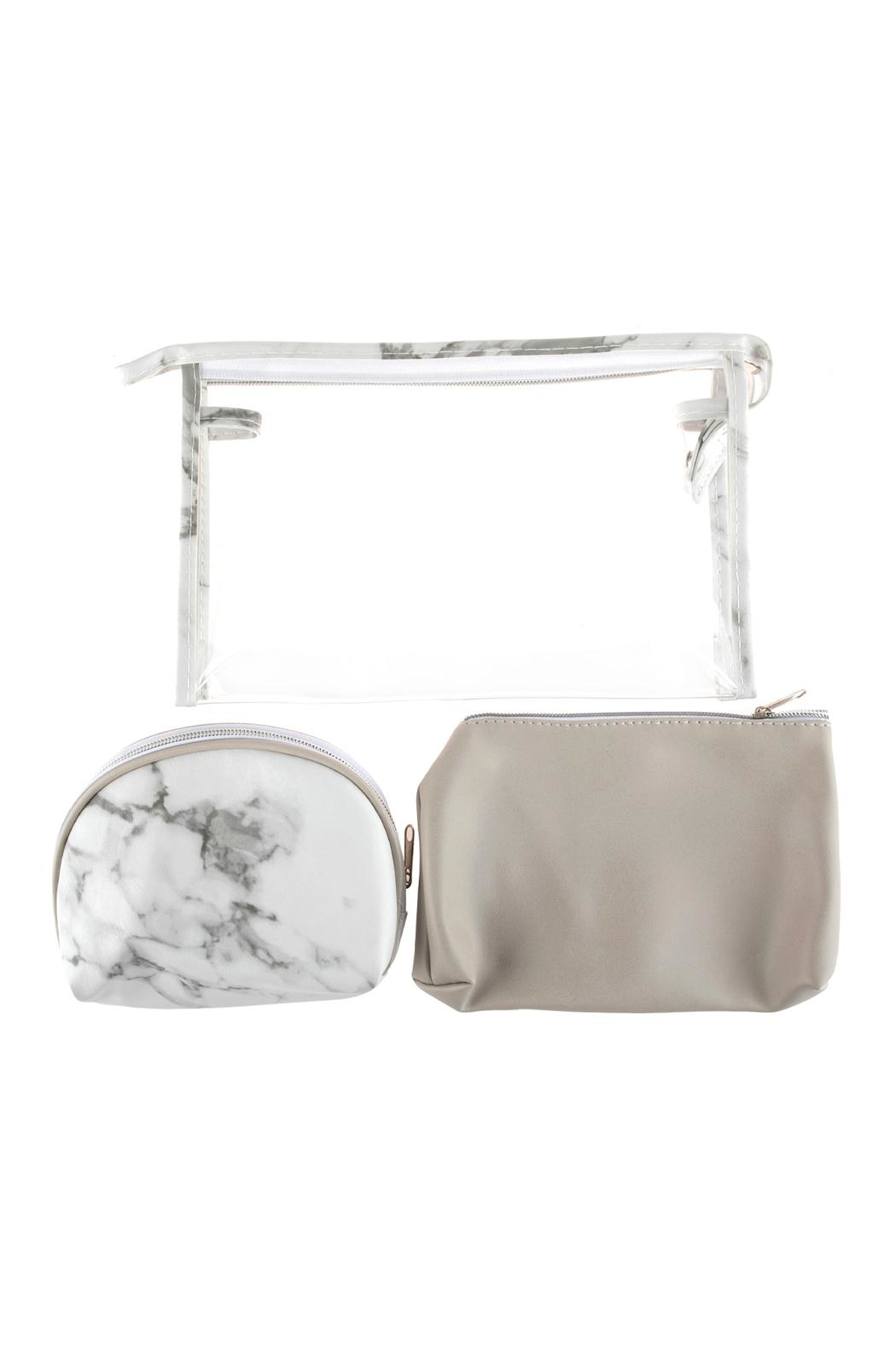 Riah Fashion Clear-Cosmetic-Bags With 2-Sets-Of-Leather-Pouches - Front Full Image