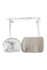 Riah Fashion Clear-Cosmetic-Bags With 2-Sets-Of-Leather-Pouches - Front full body