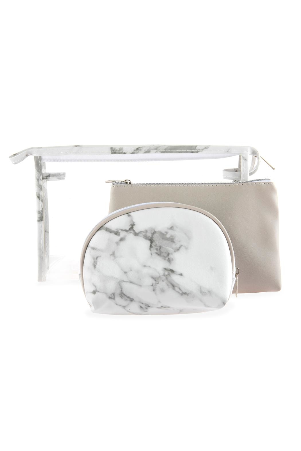 Riah Fashion Clear-Cosmetic-Bags With 2-Sets-Of-Leather-Pouches - Front Cropped Image