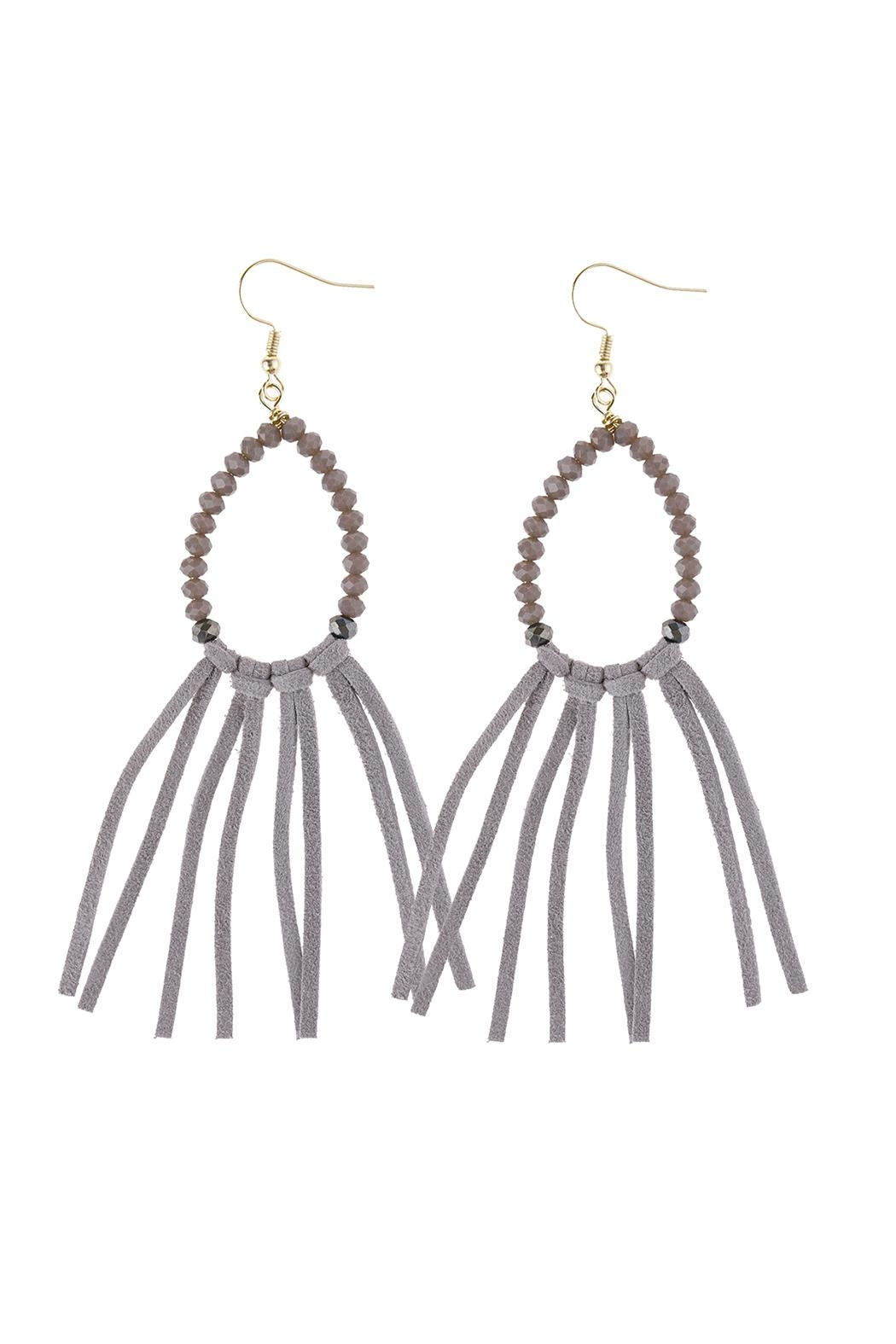 Riah Fashion Cloth-Tassel Dangle Earrings - Front Cropped Image