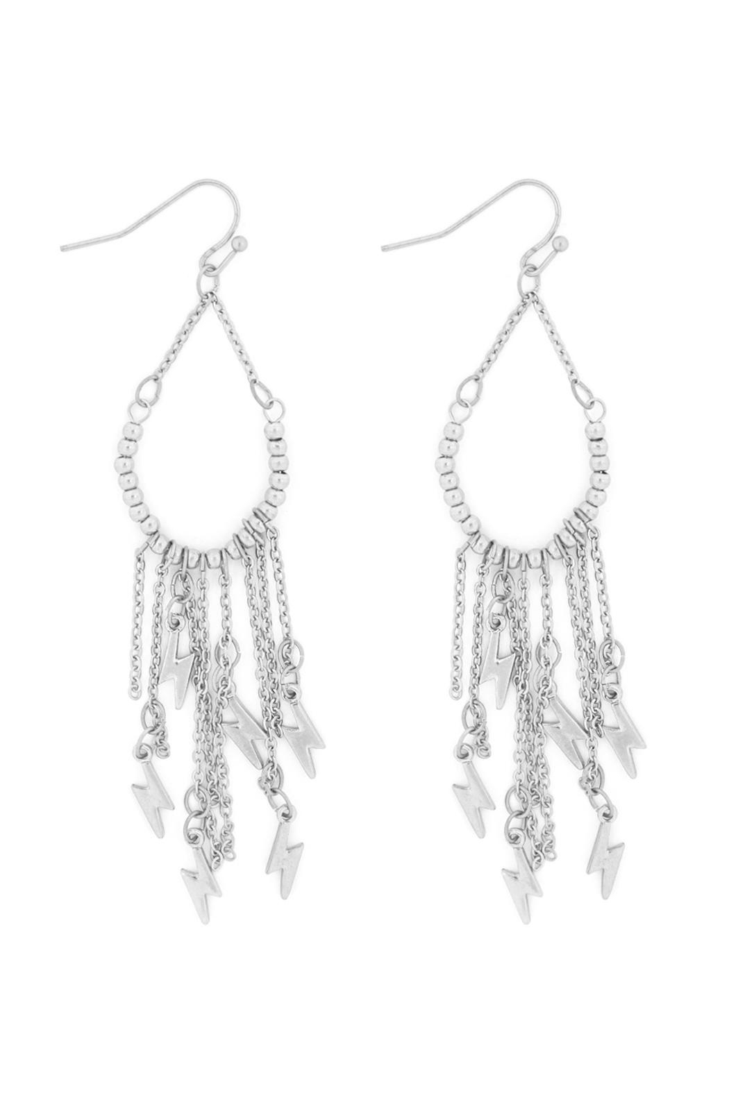 Riah Fashion Cluster-Chain-Lightning-Teardrop-Bead-Hook-Earrings - Front Cropped Image