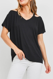 Riah Fashion Cold-Shoulder-Flutter-Sleeve-Top - Product Mini Image