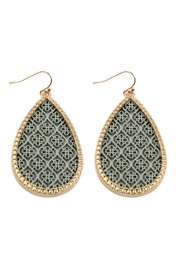Riah Fashion Color Coated-Teardrop Filigree-Earrings - Product Mini Image