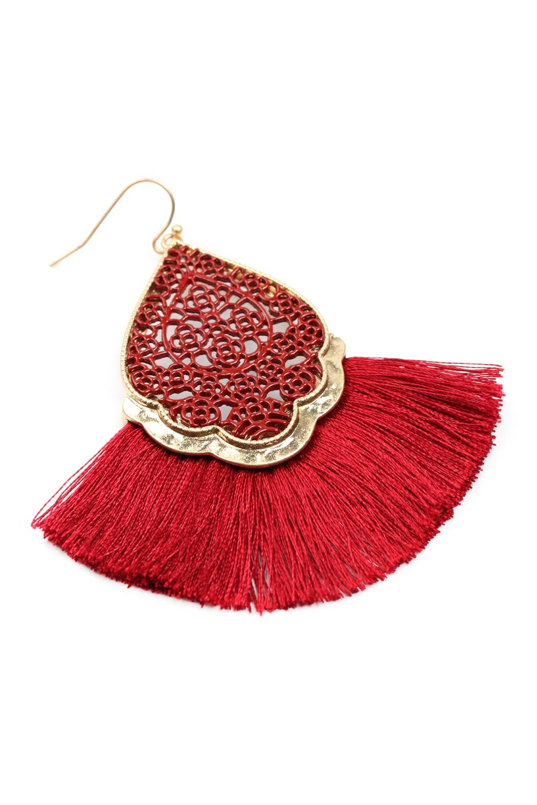 Riah Fashion Color Coating Tassel-Earrings - Side Cropped Image