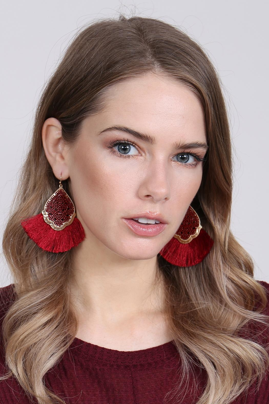 Riah Fashion Color Coating Tassel-Earrings - Front Full Image