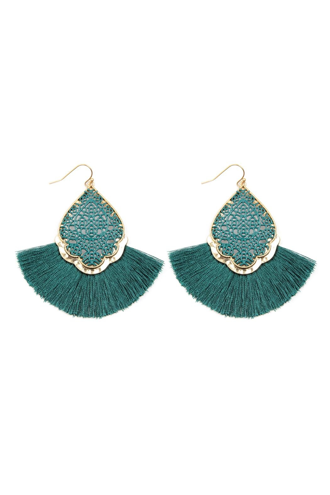 Riah Fashion Color Coating Tassel-Earrings - Front Cropped Image