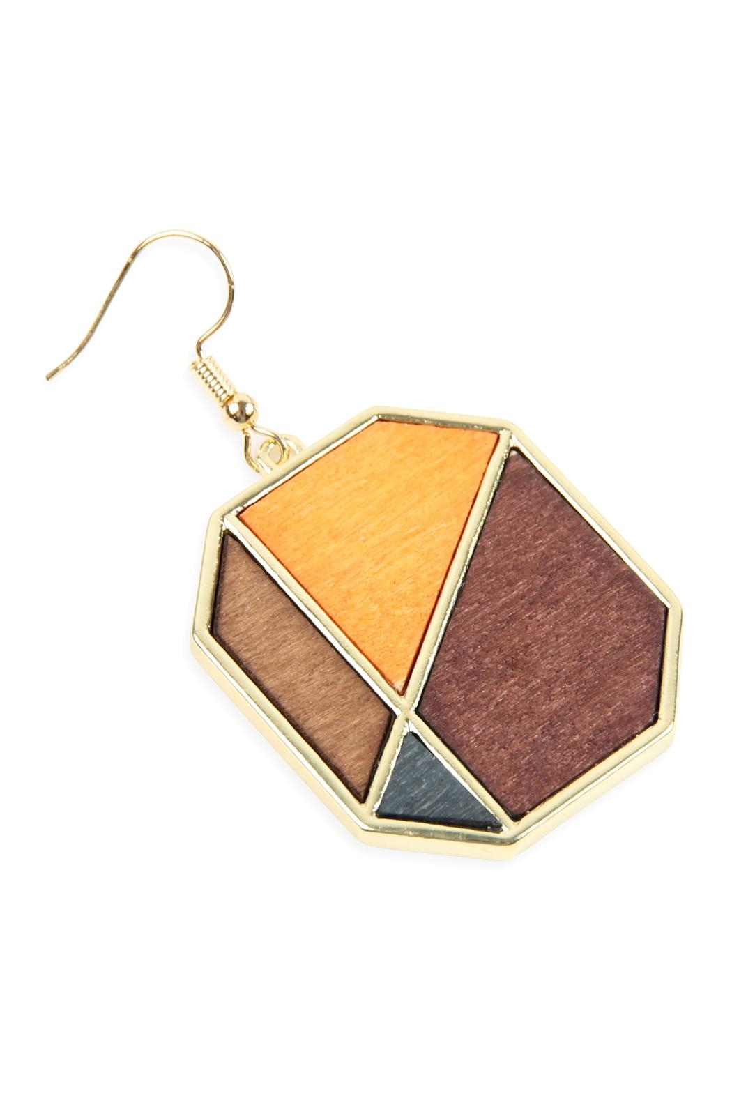 Riah Fashion Colored Polygon Drop Earrings - Front Full Image