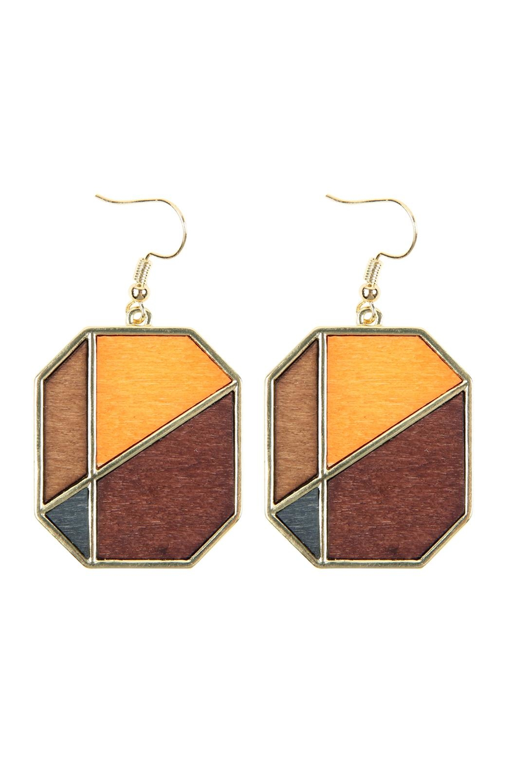 Riah Fashion Colored Polygon Drop Earrings - Front Cropped Image