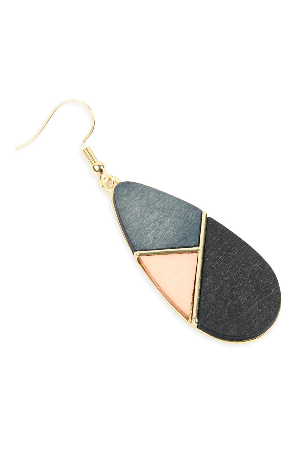 Riah Fashion Colored Polygon Teardrop-Earrings - Front Full Image