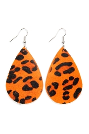 Riah Fashion Colored Teardrop Leather Earrings - Product Mini Image
