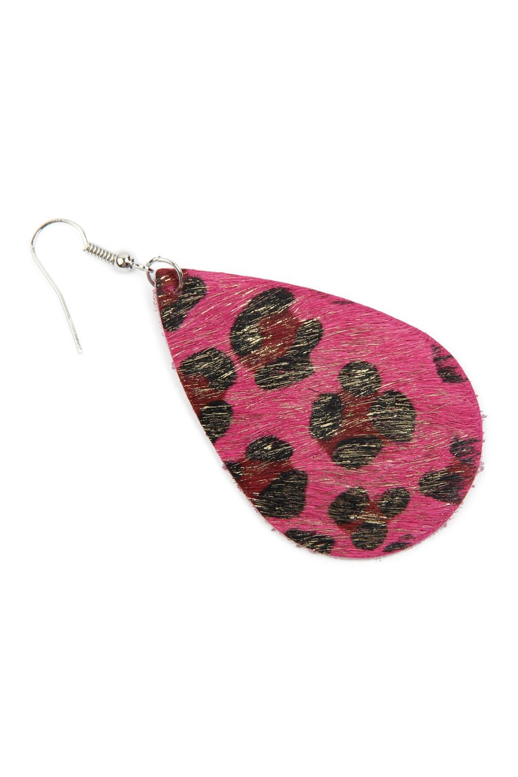 Riah Fashion Colored Teardrop Leather Earrings - Front Full Image