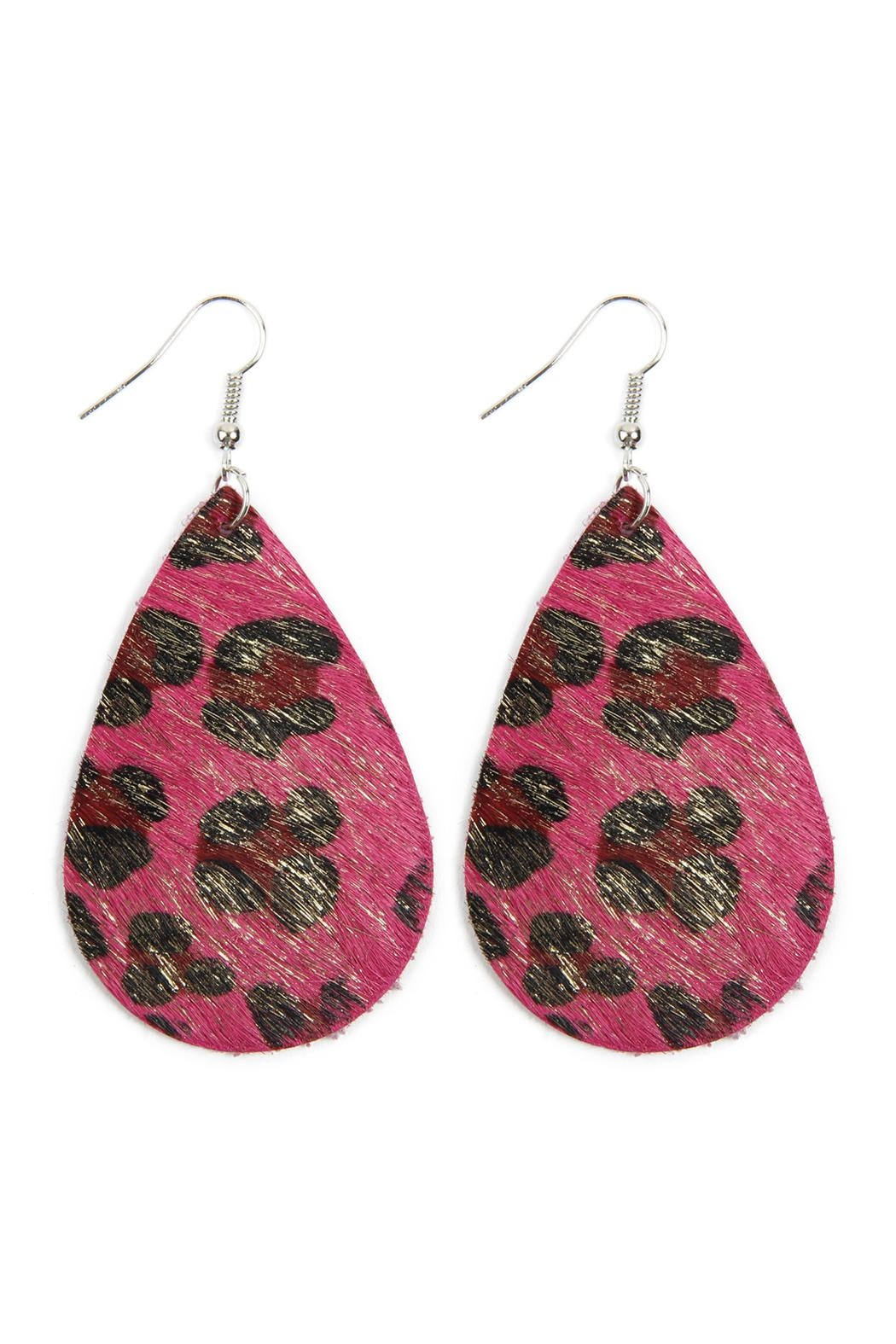 Riah Fashion Colored Teardrop Leather Earrings - Front Cropped Image