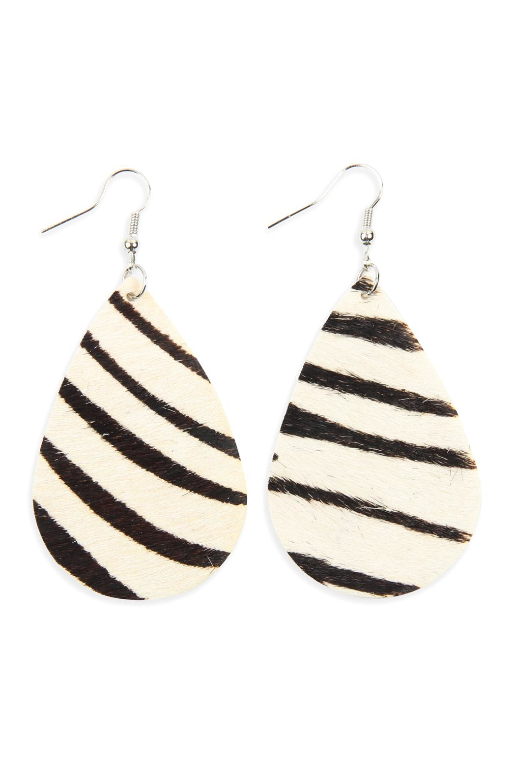 Riah Fashion Colored Teardrop Leather Earrings - Main Image