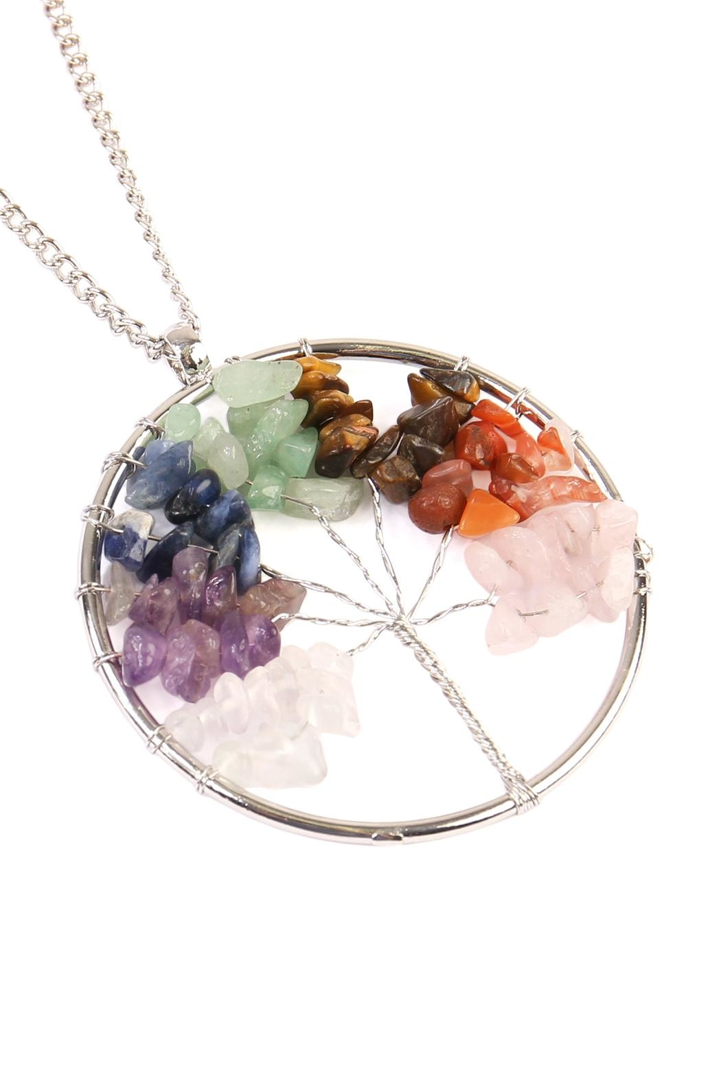 Riah Fashion Tree Of Life Wrapped Necklace - Front Full Image
