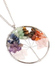 Riah Fashion Tree Of Life Wrapped Necklace - Front full body