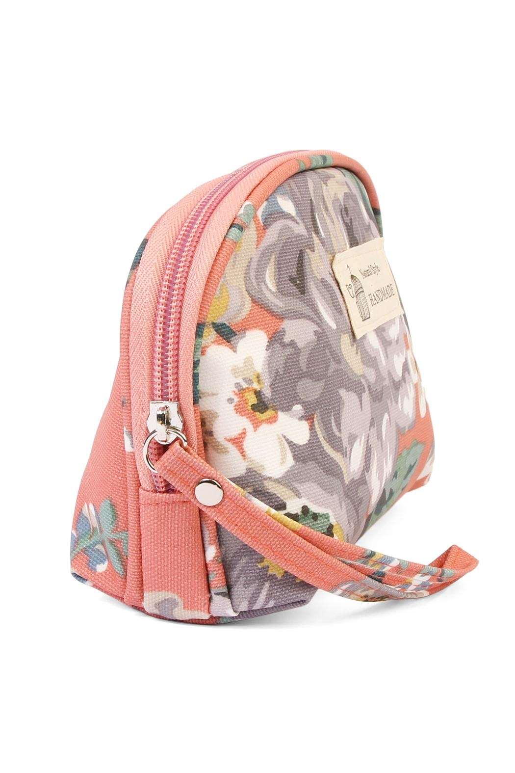 Riah Fashion Coral Petite Cosmetic Bag - Front Full Image