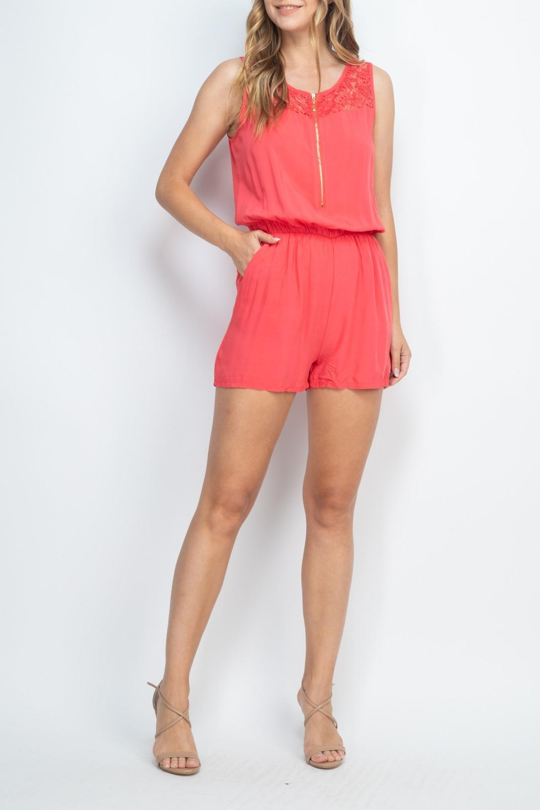 Riah Fashion Coral Romper - Side Cropped Image