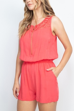 Riah Fashion Coral Romper - Product List Image