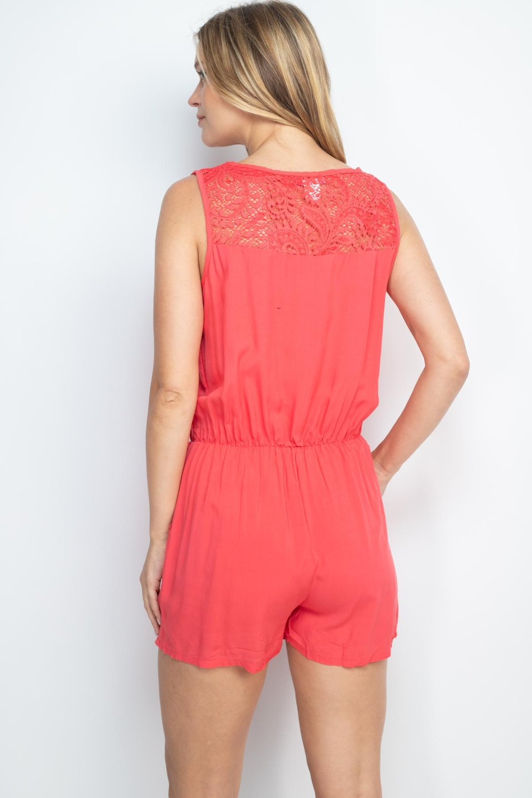 Riah Fashion Coral Romper - Front Full Image